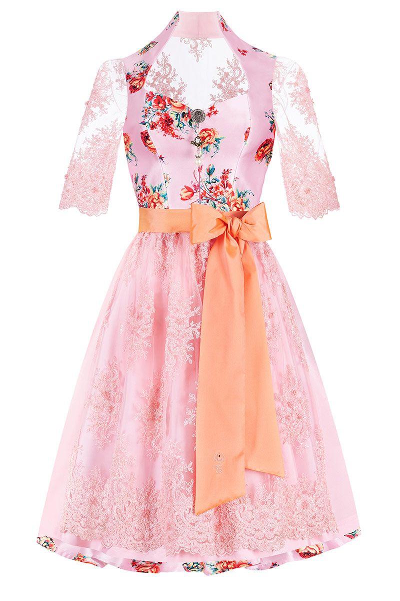 Midi Dirndl 65 cm rosa apricot Elfenparadies 012135