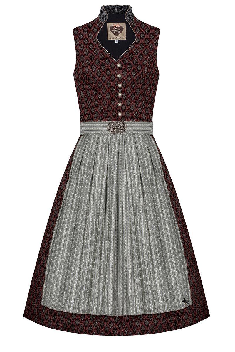 Midi Dirndl 70cm schwarz rot grau Paula 005915