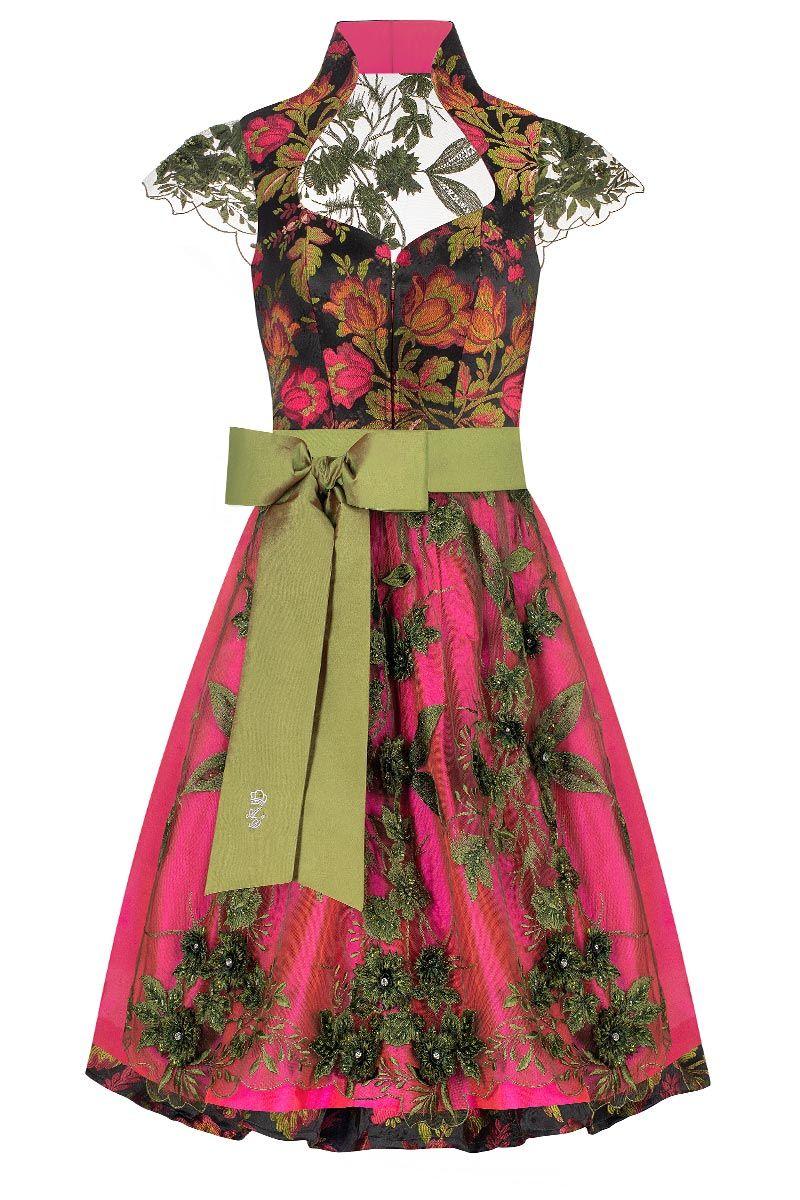 Midi Dirndl 65cm grün pink Autumn Love 008379