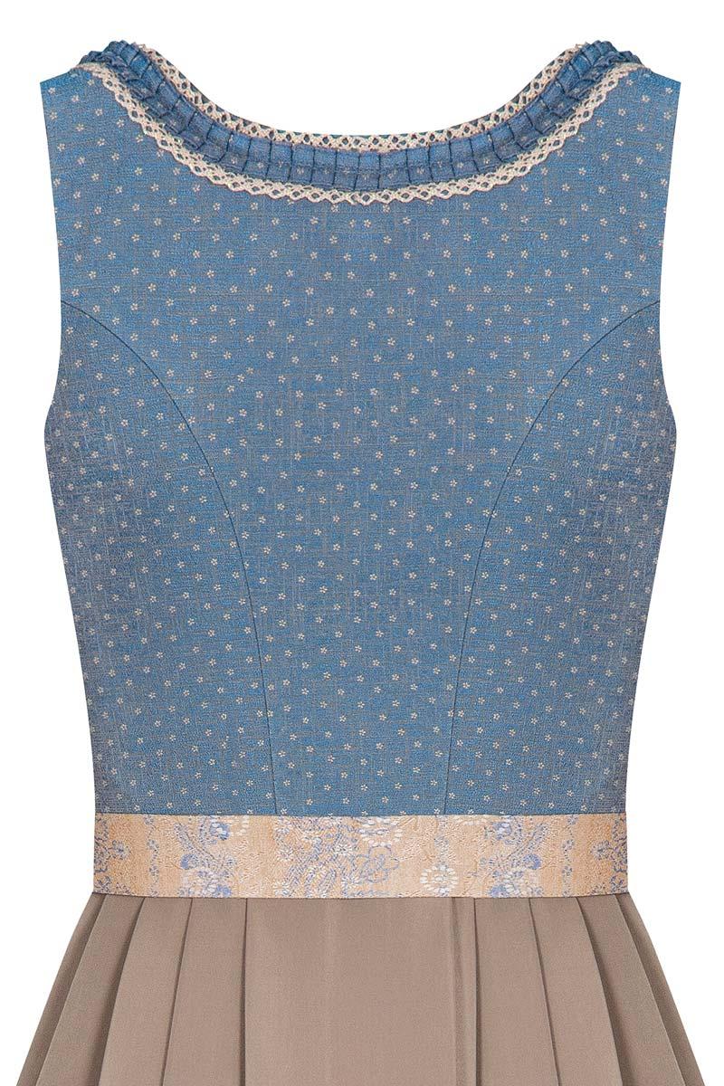 dirndl long 85cm blue taupe rosalinde 005223