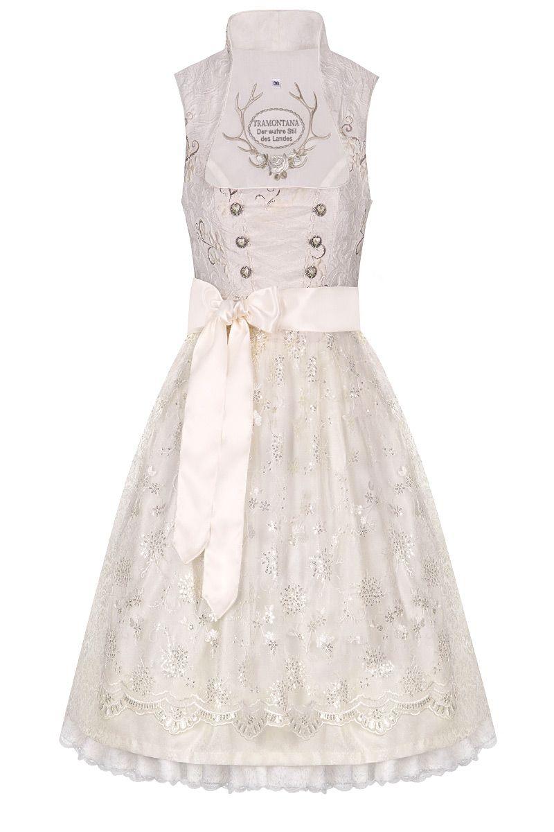 Hochzeitsdirndl midi 65cm creme Barbara inkl. Petticoat 004465