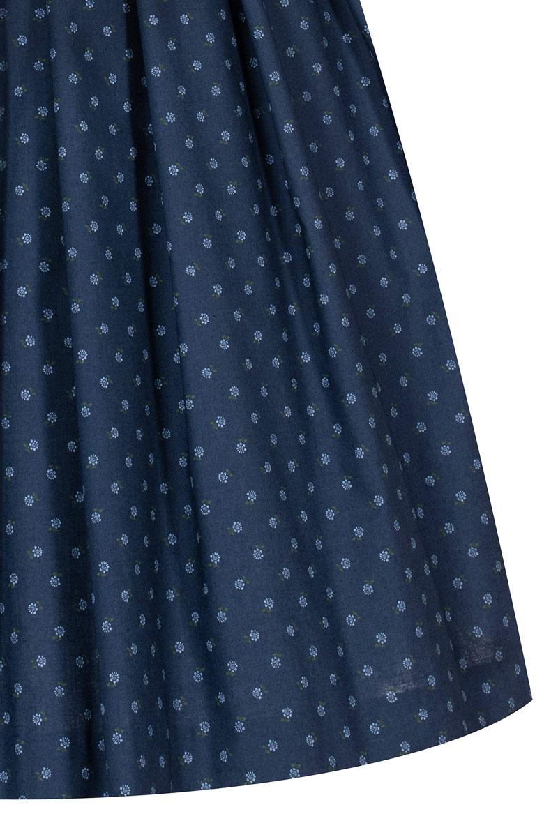 verzierte Trachtenkn/öpfe mit dunkelblauer Samtborte Lieblingsgwand Midi Dirndl 65cm dunkelblau Oliv Gemustert Emma 007330 traditionelles Waschdirndl mit V-Ausschnitt und schmalem Stehkragen