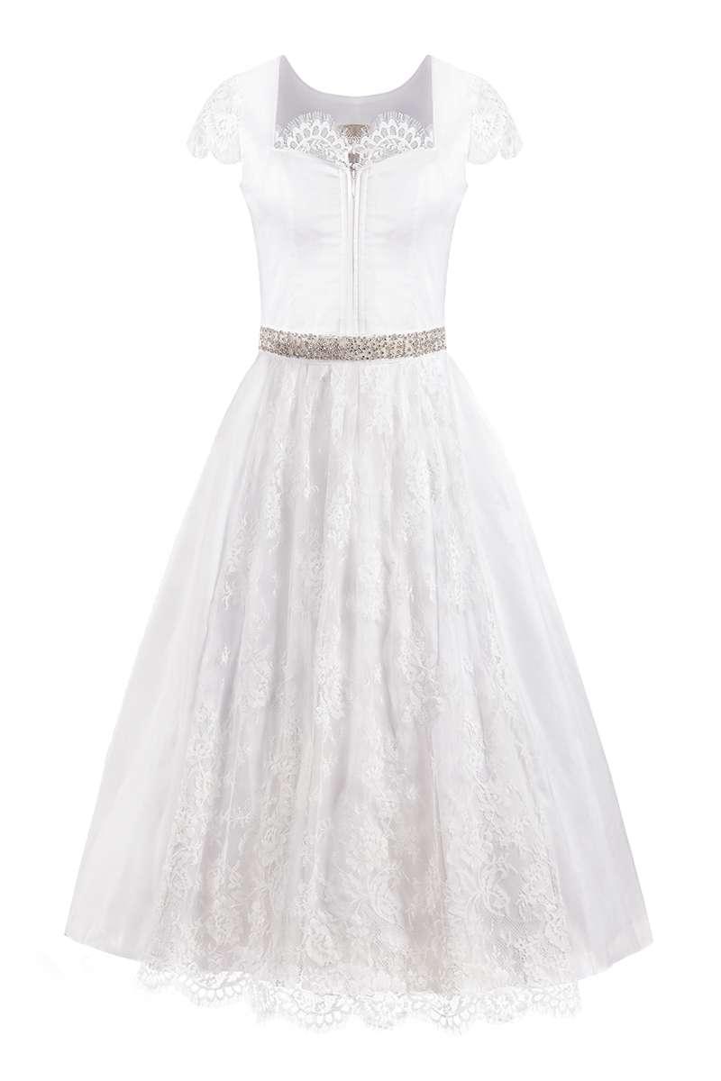 Moser Hochzeitsdirndl lang 95cm weiß Seide