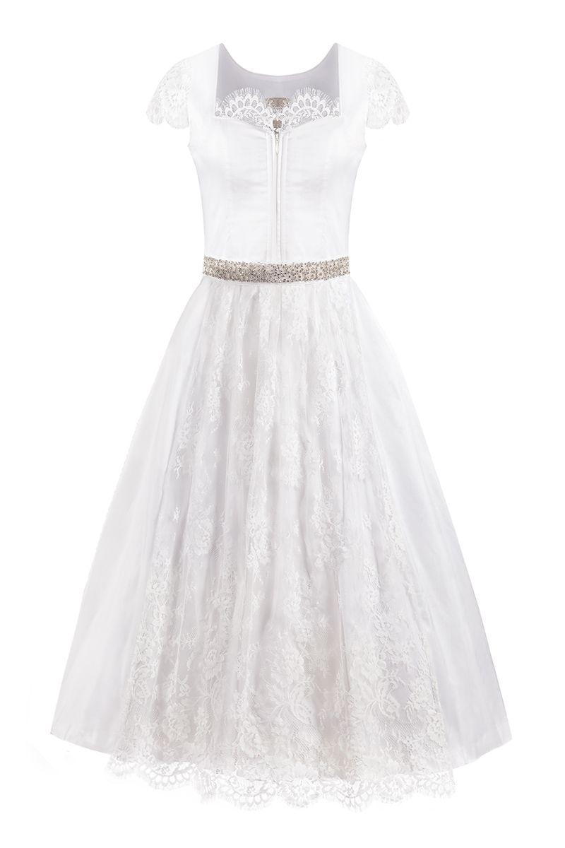 Hochzeitsdirndl lang 95cm weiß Seide Kamilla 002087