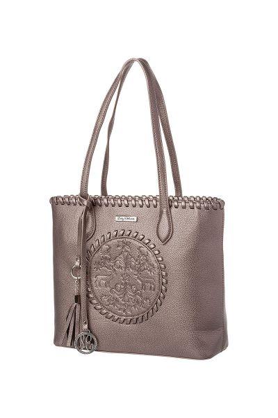 Trachtentasche taupe geprägt mit Hirschmotiv 003968