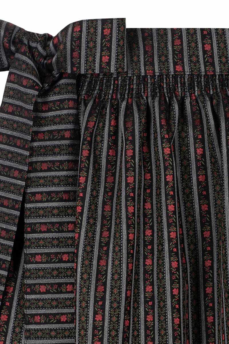 klassisch mit Schleife zu binden Moser Dirndlsch/ürze midi 70er schwarz grau gestreift mit Blumenmuster Rosalie 008213 Muster aus rot-gr/ünen Blumenranken wundersch/öne Websch/ürze