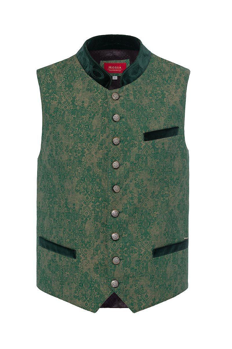 Trachtenweste grün-taupe Leopold 004193
