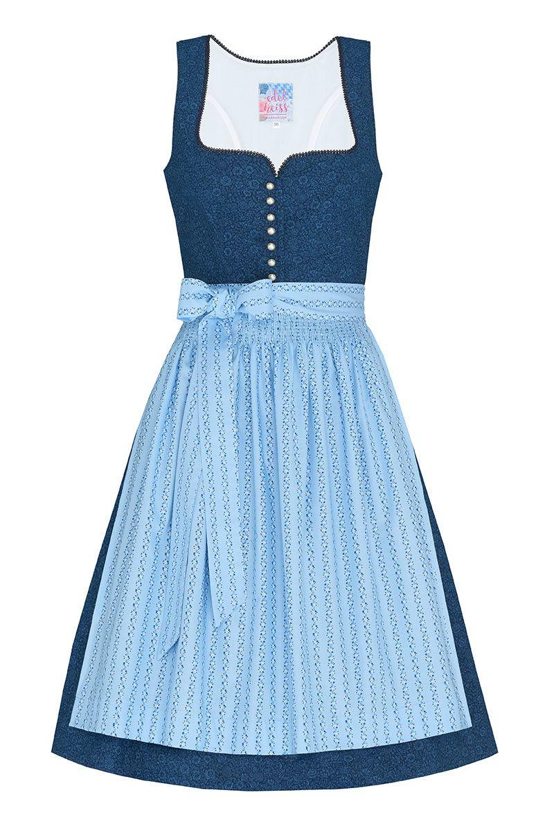 Mini Dirndl 60cm dunkelblau hellblau Lisa 005212
