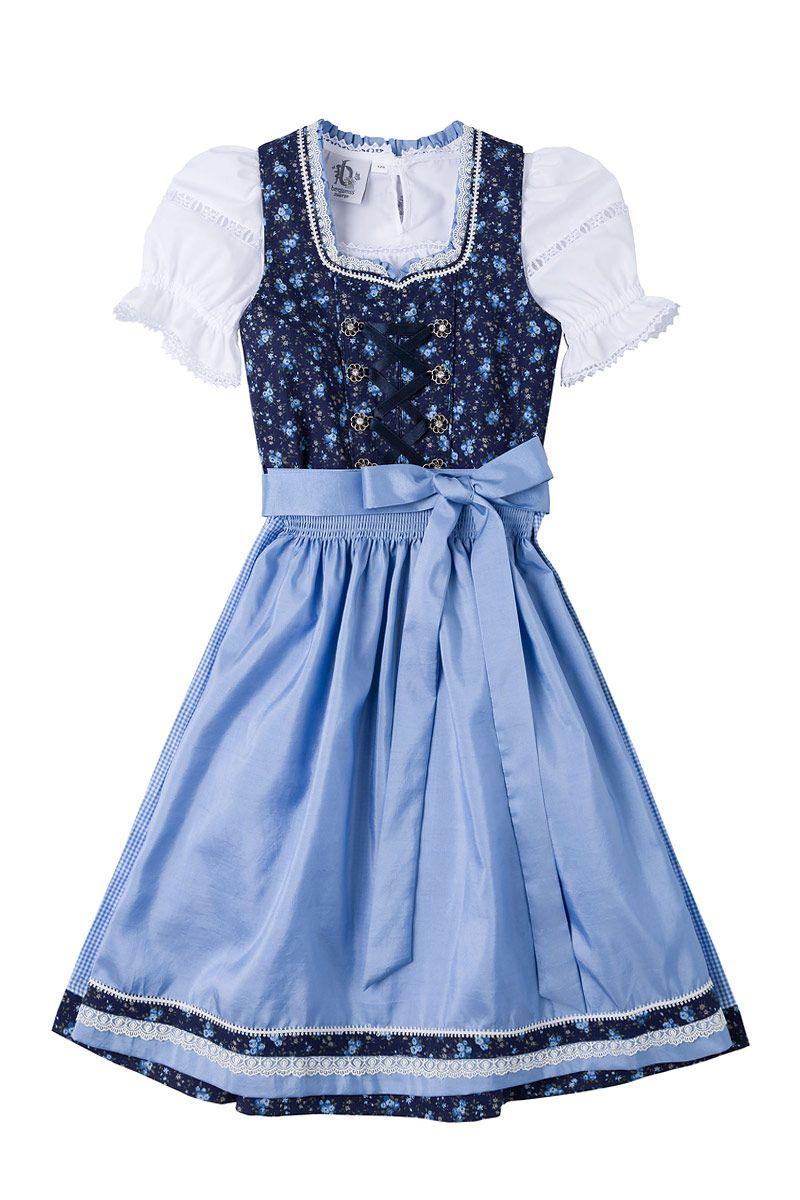 Kinder Dirndl dunkelblau geblümt hellblau Paula 003731