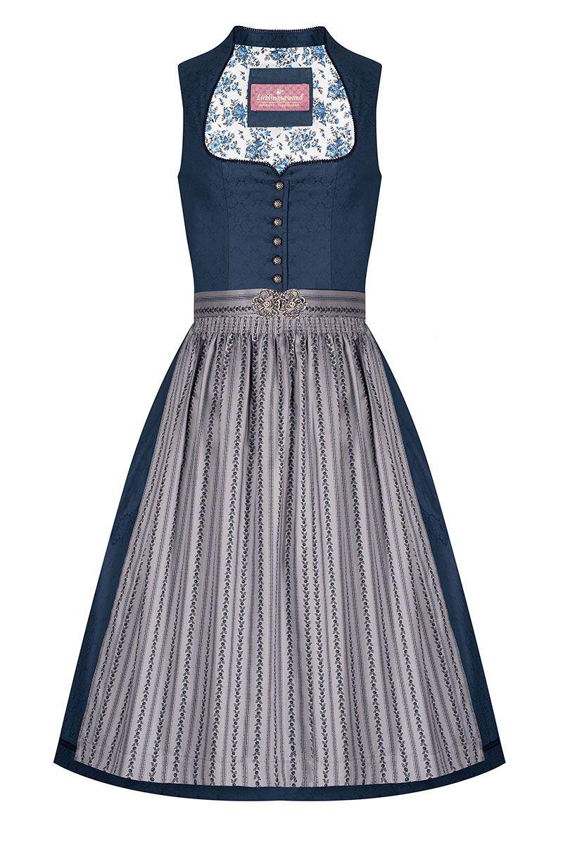 Midi Dirndl 65 cm dunkelblau grau Nicki 007364