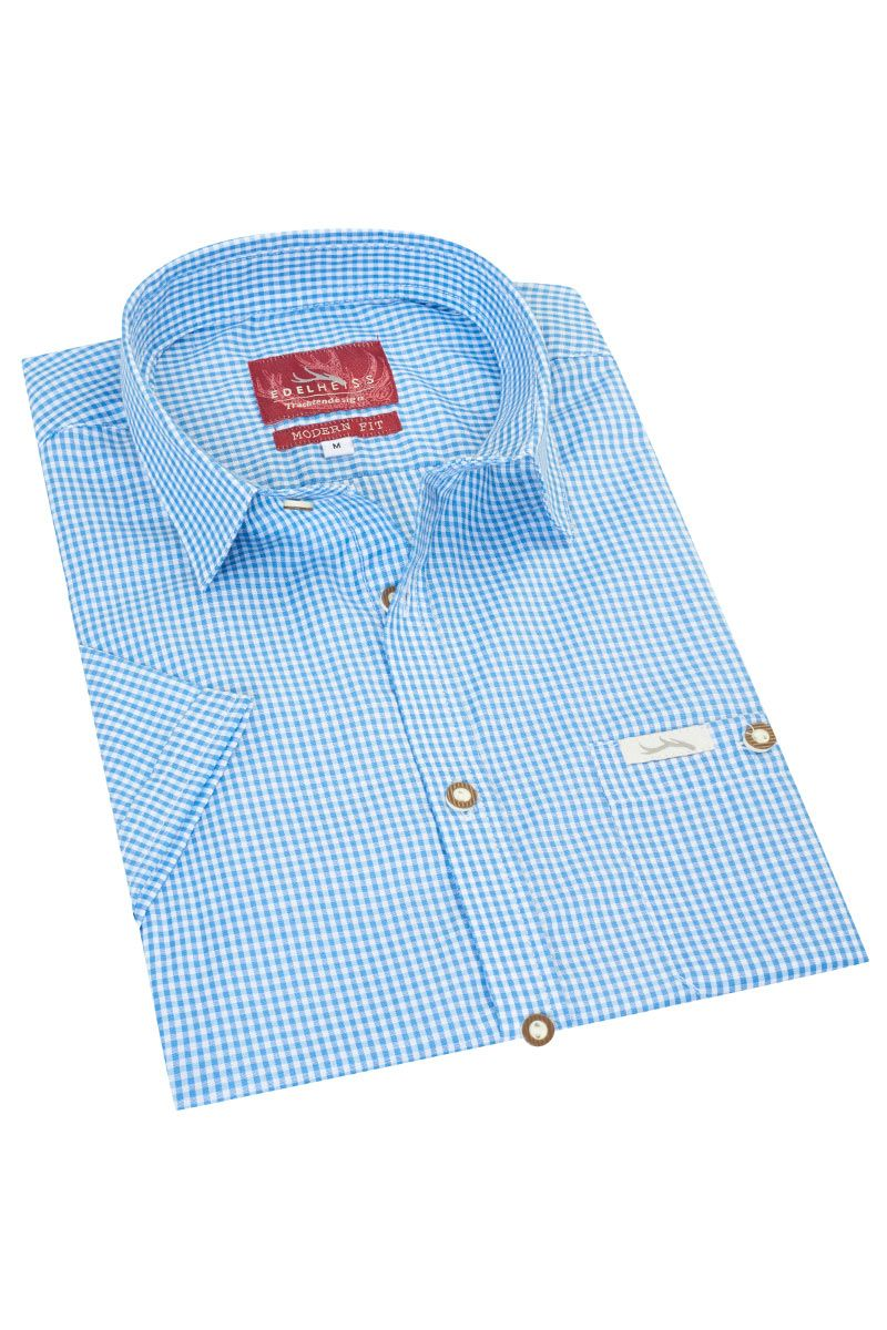 Trachtenhemd kurzarm hellblau kariert Andy 010272