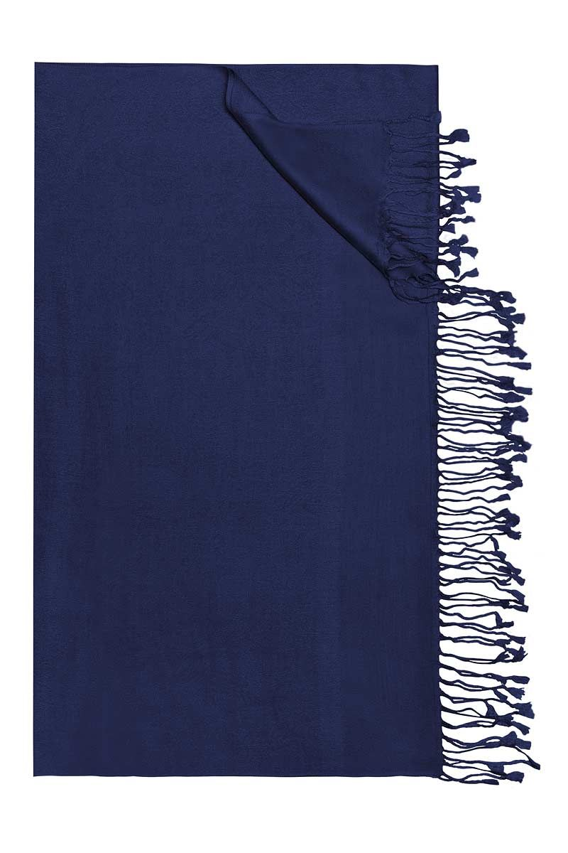Trachtentuch 60x180 dunkelblau mit Fransen Yunbai 002958